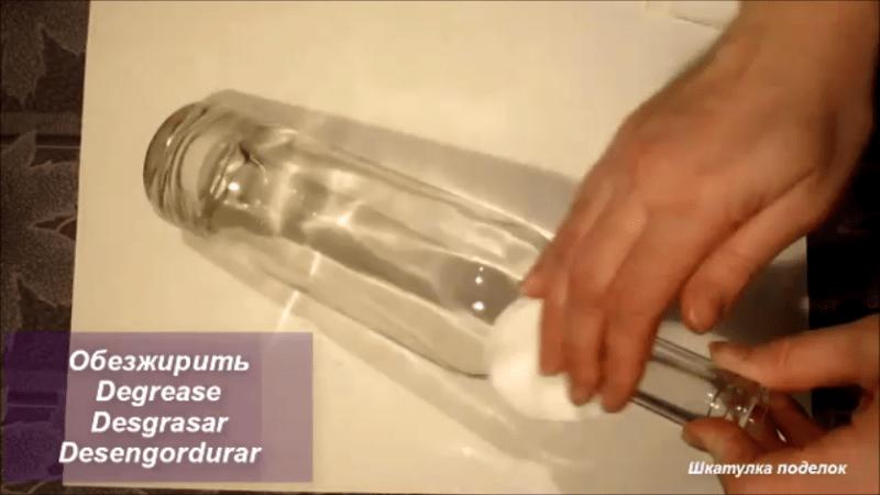 Идея декора стелянной бутылки.