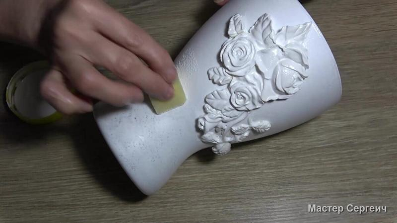 """Из обычной стеклянной вазы сделали """"фарфоровую"""""""