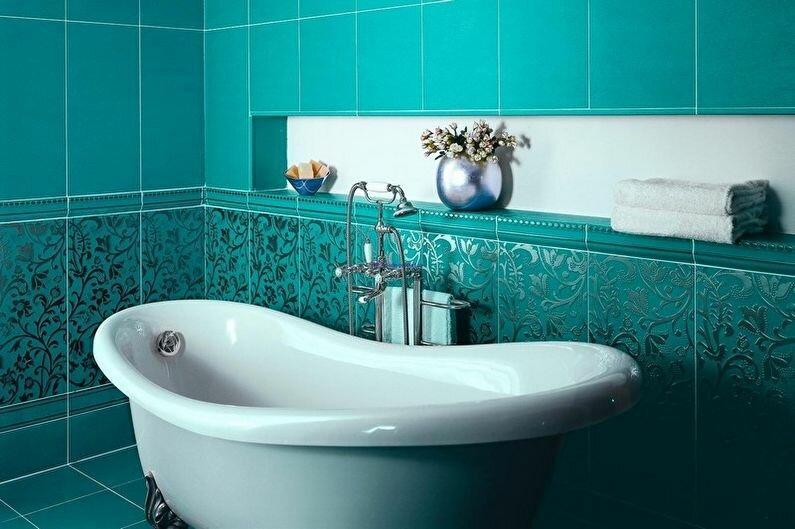 Отделка ванной комнаты в бирюзовый цвет