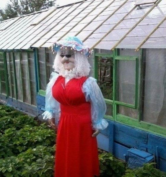 7 случаев, когда к изготовлению пугал на огороде люди подошли ну очень креативно