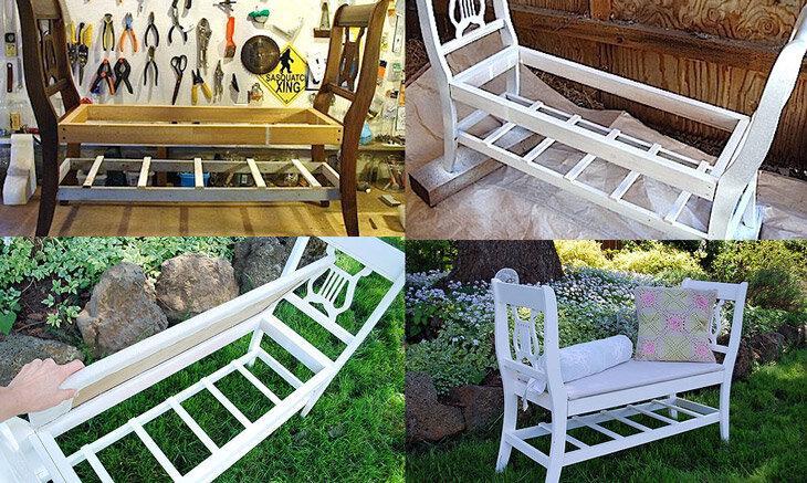 Гениальные решения для дачи из ненужных вещей: старых ведер, дверей, стульев, веток