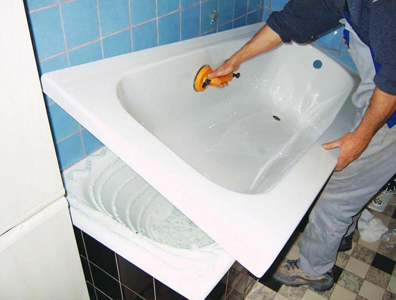 Реставрация ванны методом «ванна в ванну»