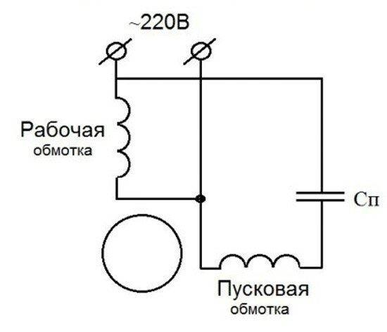 Как найти рабочую и пусковую катушки однофазного асинхронного двигателя