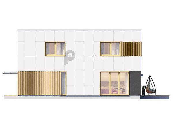 Стильный дом в современном стиле. Проект дома с гаражом, террасой и панораным остеклением 230 кв/м за 5 900 000 ₽
