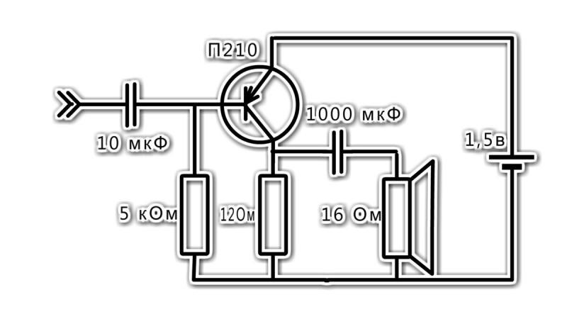 Очень Простой и Мощный Усилитель на Одном Транзисторе П210А