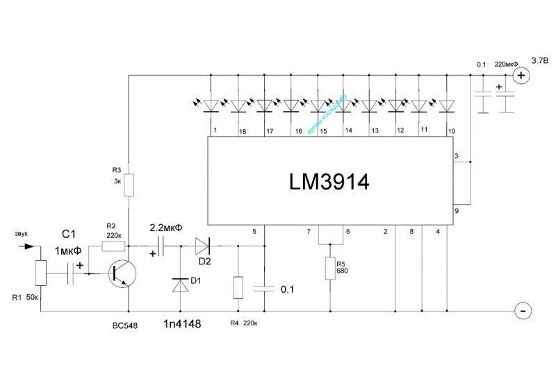Микросхема LM3914.VU метр и светодиодный вольтметр на этой микросхеме