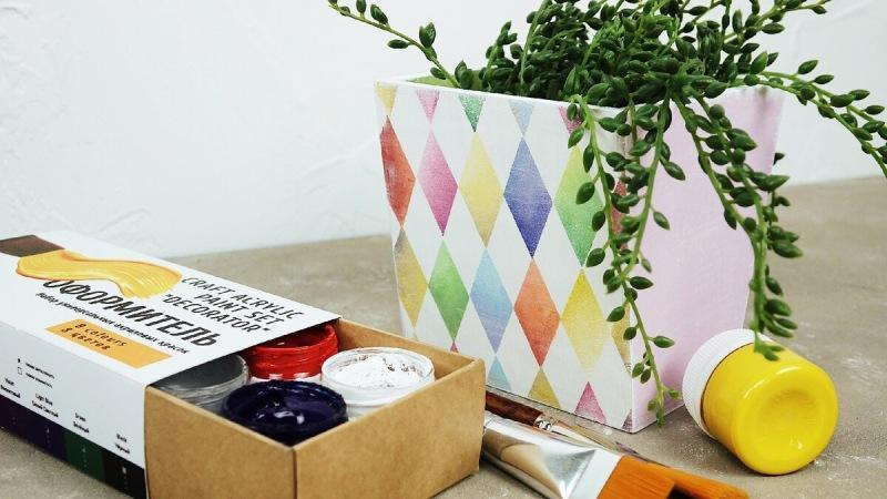 Один набор красок и три кашпо: создаём уникальный дизайн! Видео