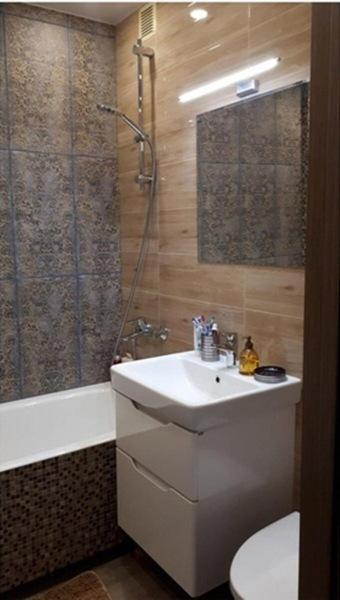 """Объединили ванную и туалет в """"хрущевке"""". Получилось очень стильная ванная со стиральной машиной. Показываем что вышло!"""