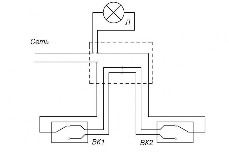 Проходной выключатель, - это очень удобно! Схема плдключения.