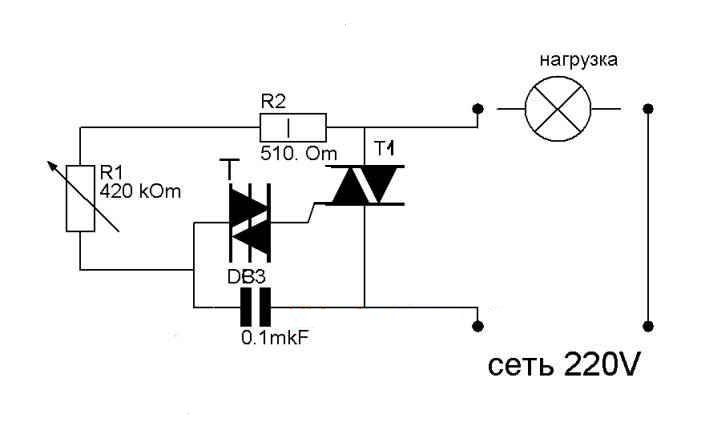 Схема регулятора мощности 3.5 кВт на симисторе, состоящая из 5 деталий.